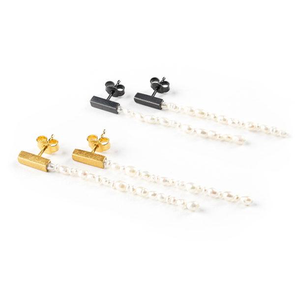 Boucles d'oreilles longues, en argent noirci ou plaqué or 24 ct, avec perle de culture
