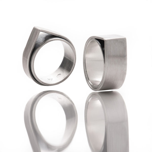"Rings of the collection ""Forest"" in sterling silver, mat"