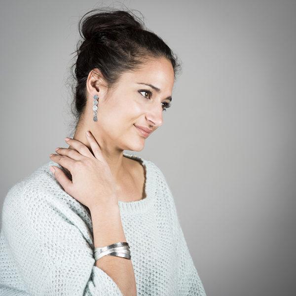 Boucles d'oreilles et QUADRINITY bracelet de la collection DOTS, en argent RJC