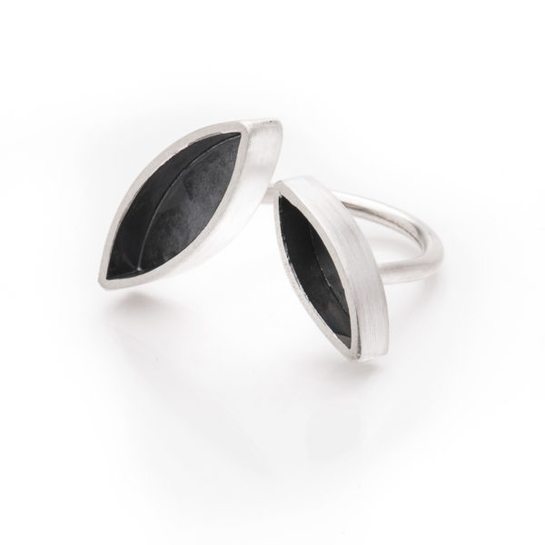 "Ring from the new collection of this autumn ""Forest"", sterling silver, mat and oxidized. To be worn between the fingers."