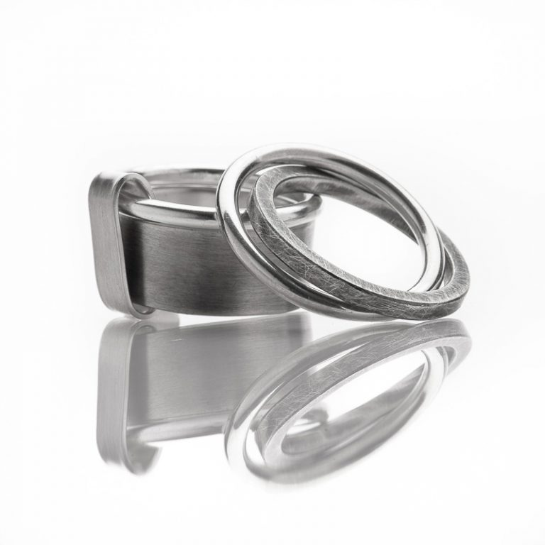 """Rings """"My Man"""" sterling silver, brushed and oxidized © Yasmin Yahya"""