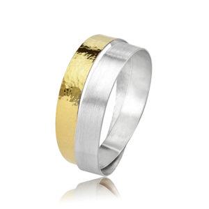 Bracelet « Infini » en argent et or 22 carats (bi-matière), mat et martelé/poli