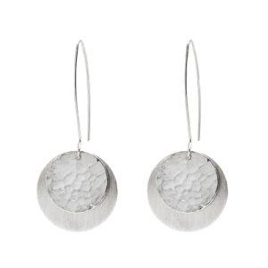 Boucles d'oreilles en argent, mat et martelé/poli, longueur 5 cm, ø disc 2,1 cm