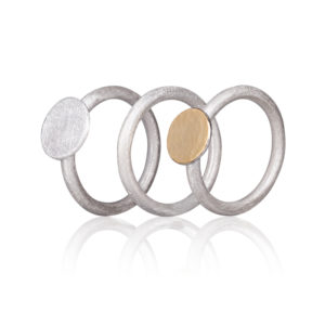 Dreifach-Ring in Silber, matt und gehämmert/poliert