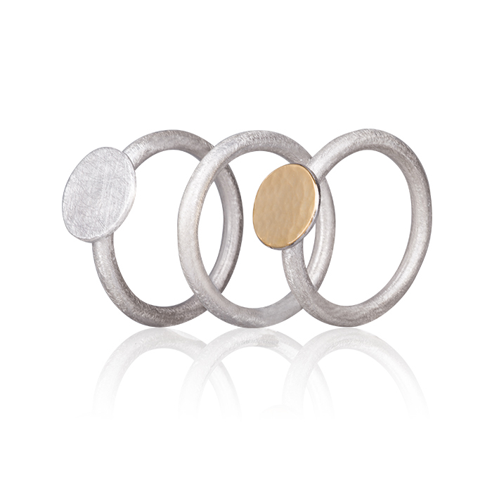 Triple Ring in sterling silver, mat and hammered/polished