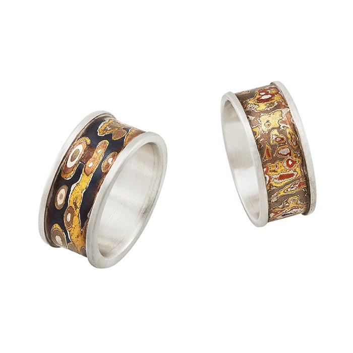 Rings for men in sterling silver and mokume gane, width 1,3 cm