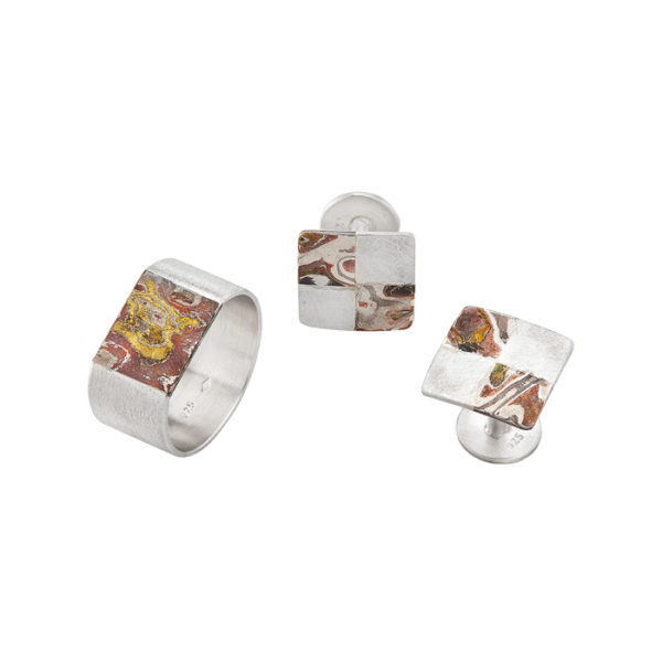 Ring and cuff links in sterling silver and mokume gane