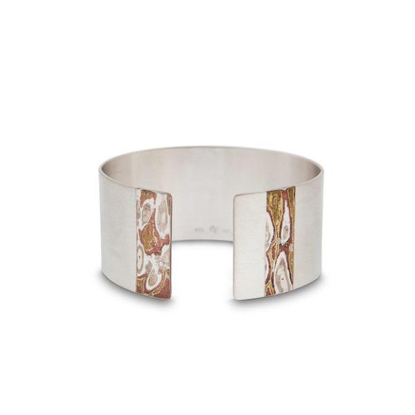 Bracelet en argent et mokumé gané, largeur 2,9 cm