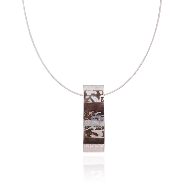 Necklace in sterling silver and mokume gane