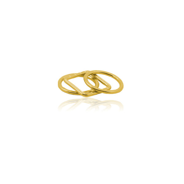 Triple Ring in sterling silver, gold-plated, with stripes
