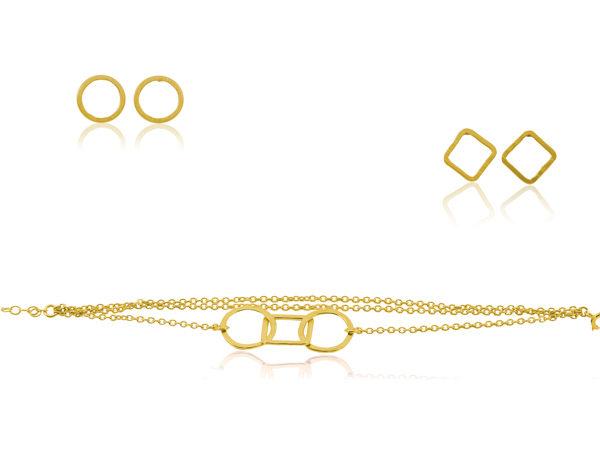 Puces et bracelet en argent, plaqué or, strié