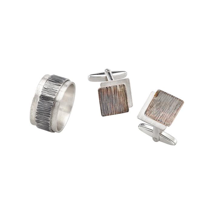 Ring und Manschettenknöpfe in Silber, matt und geschwärzt