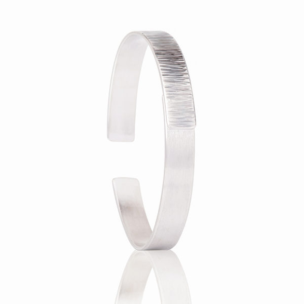 Bracelet in sterling silver, mat and tarnished, width 0,9 cm