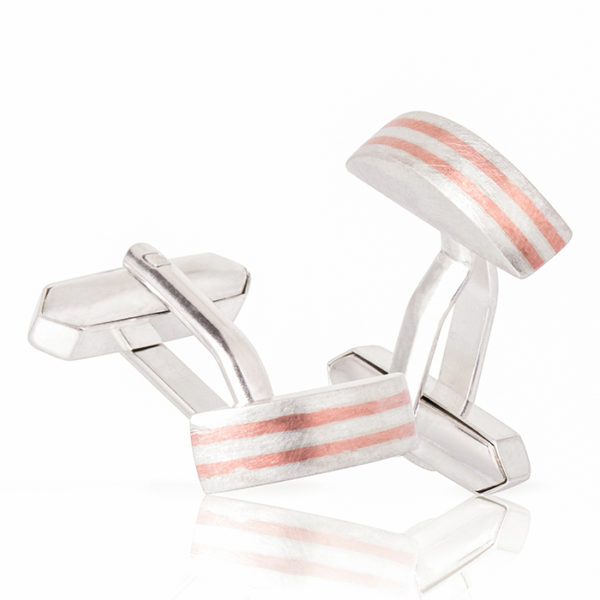 Cuff links in sterling silver and shakudo (alloy copper/gold)