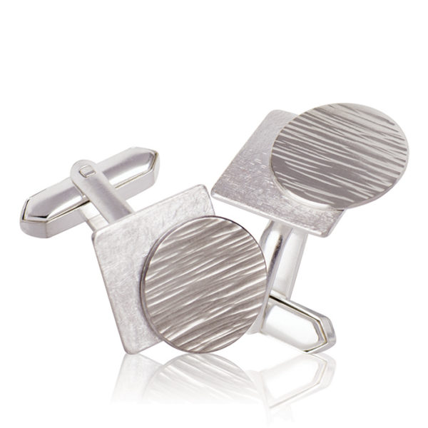Cuff links in sterling silver and palladium