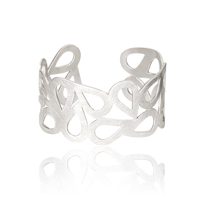 Bracelet manchettes en argent mat, largeur env. 3 cm