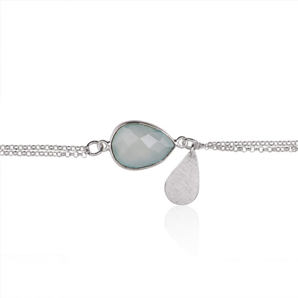 Bracelet in sterling silver, with calcedony
