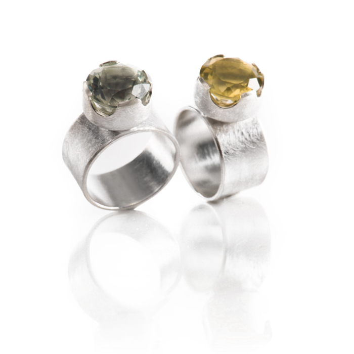 Rings « Princesse » in sterling silver with prasiolith and lemon quartz (ø 12 mm)