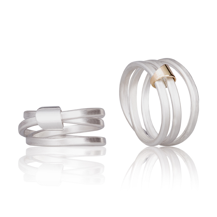 Rings « Voyage » in sterling silver and 18 carats gold