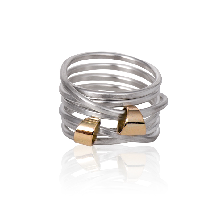 Ring « Voyage » in sterling silver and 18 carats gold