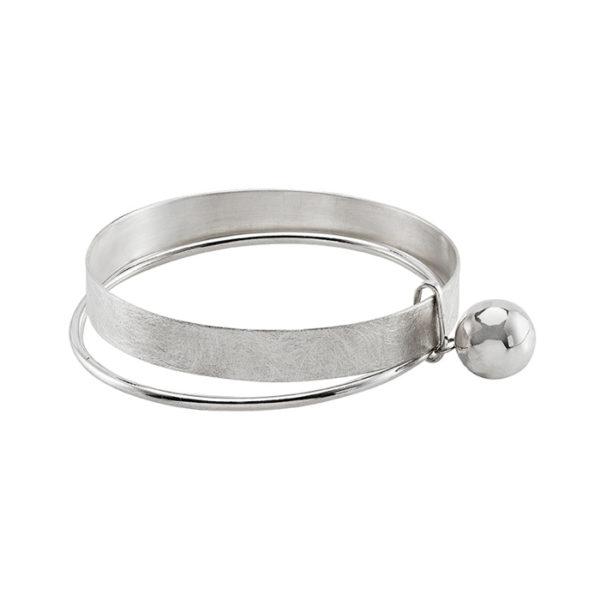 Bracelet argent, mat et poli, boule ø 1,4 cm