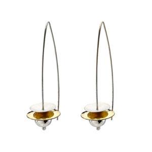 Boucles d'oreilles en argent et or 22 carats, longueur 5 cm
