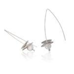 Ohrringe in Silber, matt und poliert, Länge 5 cm
