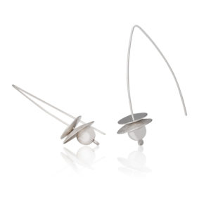 Boucles d'oreilles en argent, mat et poli, longueur 5 cm