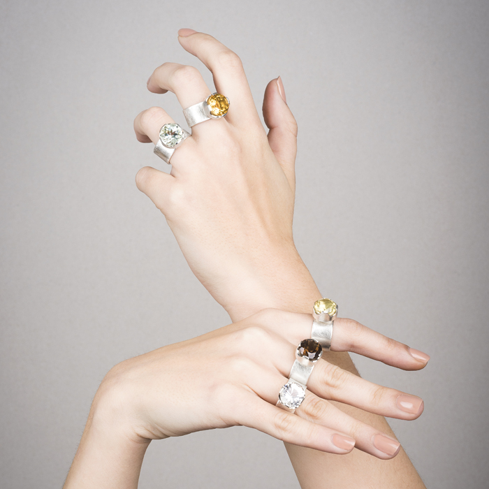 Rings PRINCESSE in sterling silver RJC matt, with semi-precious stones