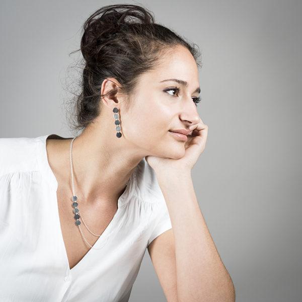 Halskette und Ohrringe DOTS aus Silber RJC