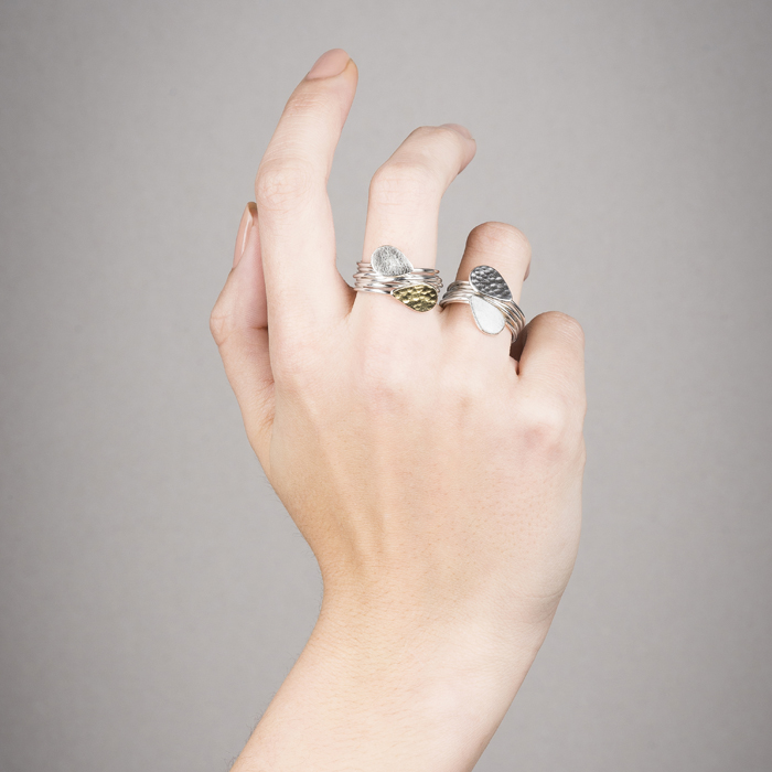 "Rings ""Perle de pluie"" in, either in sterling silver or sterling silver with 22 ct gold RJC"