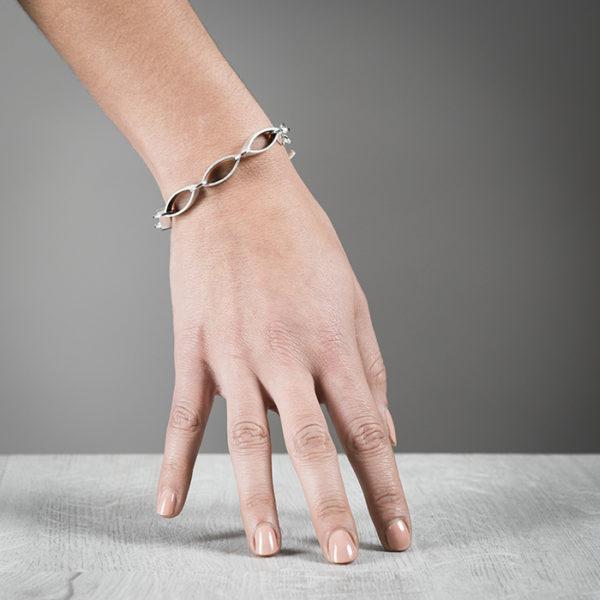 Bracelet FOREST en argent RJC, mat et oxydé