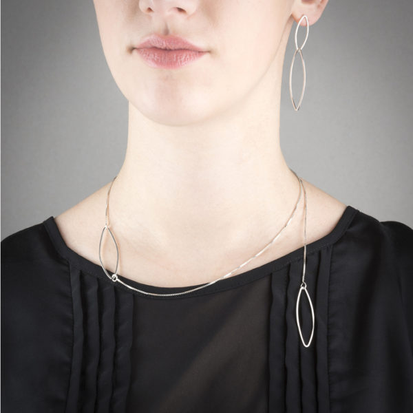 Delicate earrings and necklace in ethical sterling silver, collection FOREST
