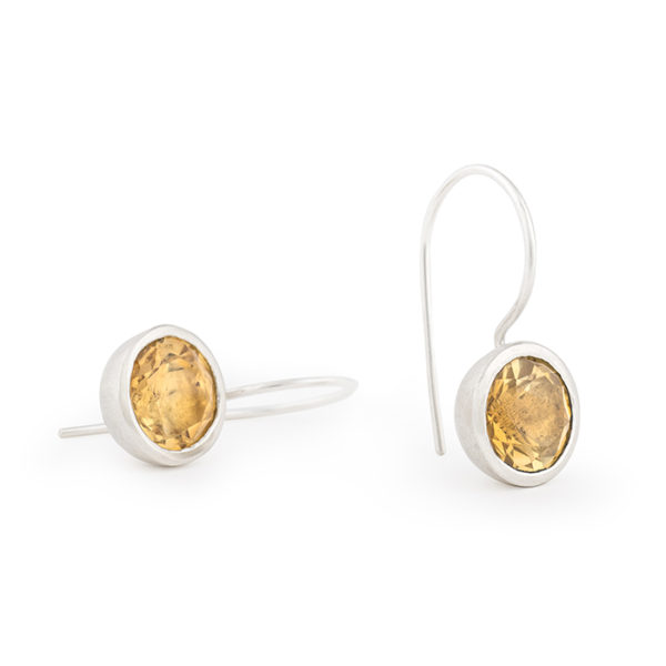 Boucles d'oreilles en argent recyclé, avec citrine 10 mm © Yasmin Yahya