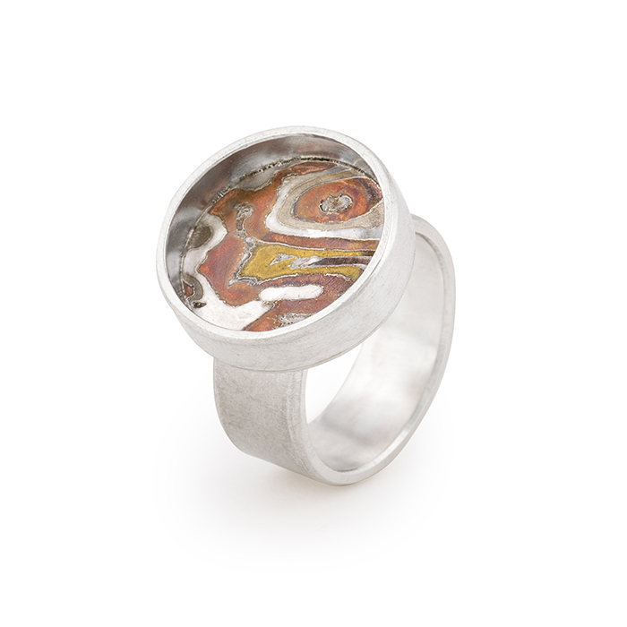 Ring in fairtrade and recycled sterling silver and mokume gane © Yasmin Yahya