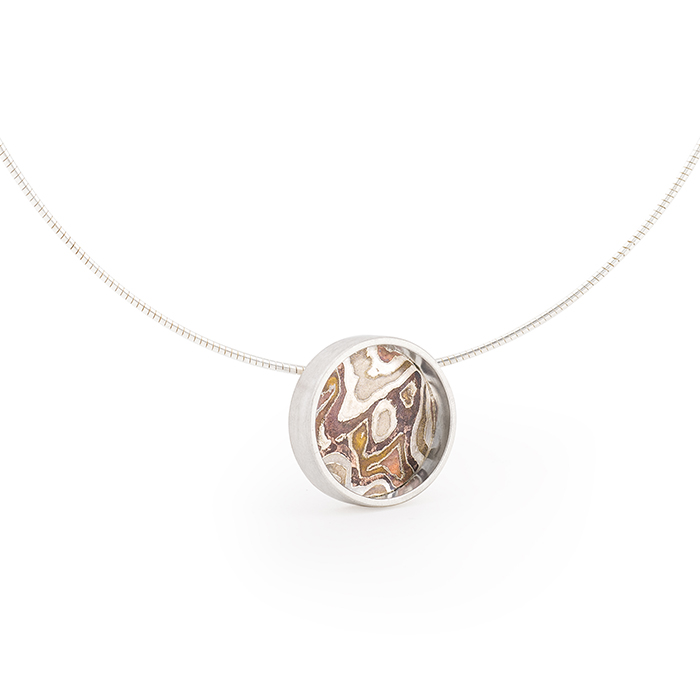 Necklace in fairtrade and recycled sterling silver and mokume gane © Yasmin Yahya
