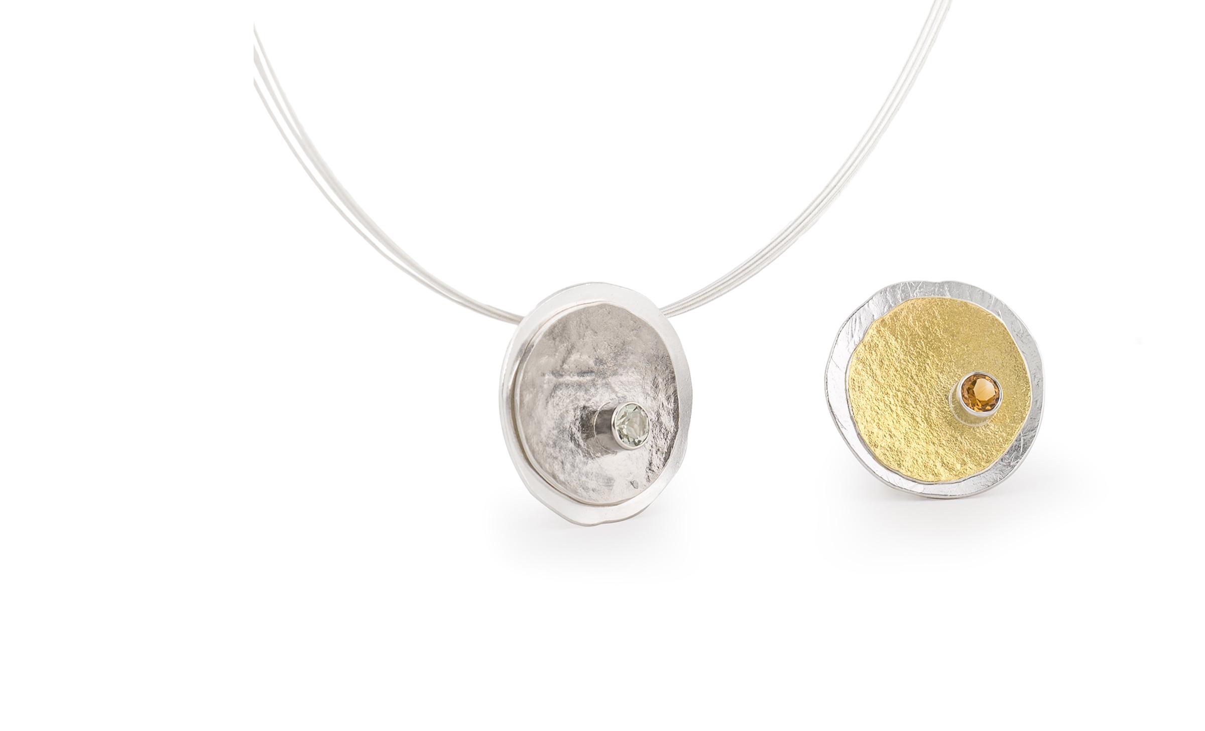 Collier en argent et or 22 carats ethique avec citrine ou palladium et prasiolithe © Yasmin Yahya mlg