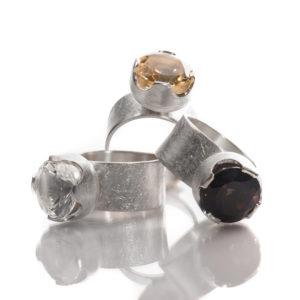 Bagues en argent RJC mat, avec cristal de roche (blanc), citrine (jaune) et quartz fumé (marron) de ø 12 mm