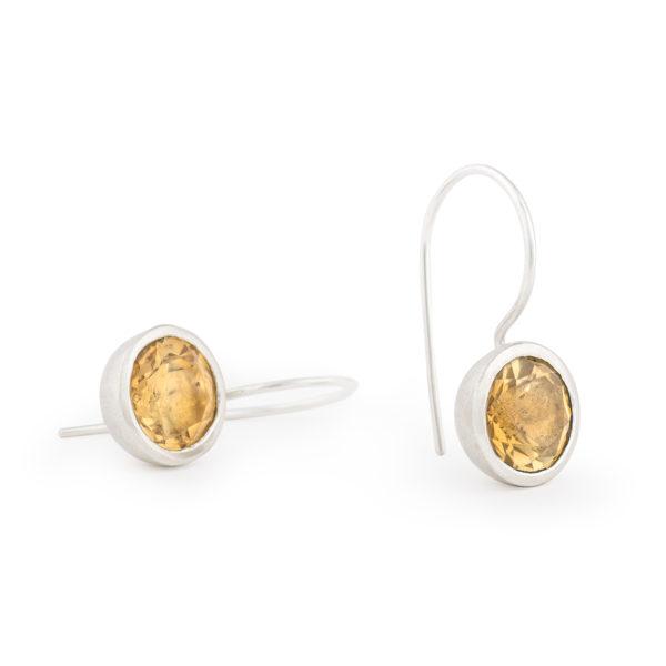 Boucles d'oreilles MOUNTAIN en argent RJC avec citrine (couleur jaune) ø 10 mm