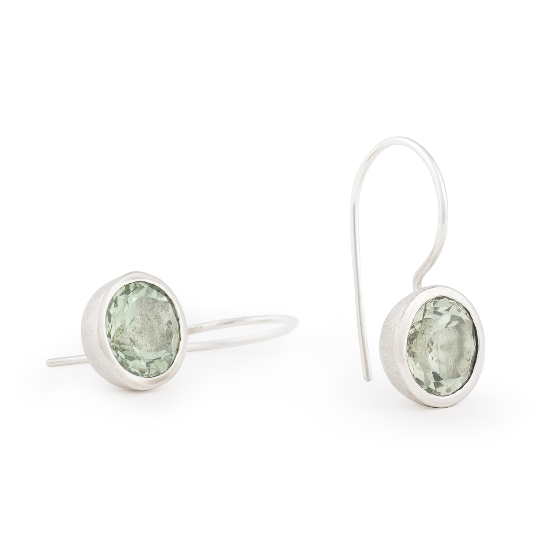 Boucles d'oreilles MOUNTAIN en argent RJC avec prasiolithe (couleur vert d'eau) ø 10 mm