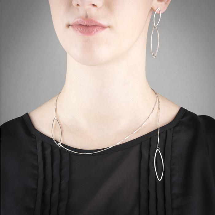 Parure de la collection FOREST, en argent éthique RJC: Collier et boucles d'oreilles fins