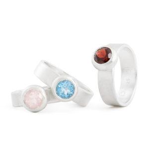 """Bagues """"Bubbles"""" en argent RJC, avec quartz rose, topaz et grenade (ø pierre 6 mm), finition satinée"""