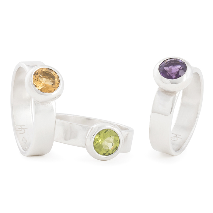 Rings in sterling silver RJC polished, with citrine, peridot and amethyst (stone ø 6 mm)