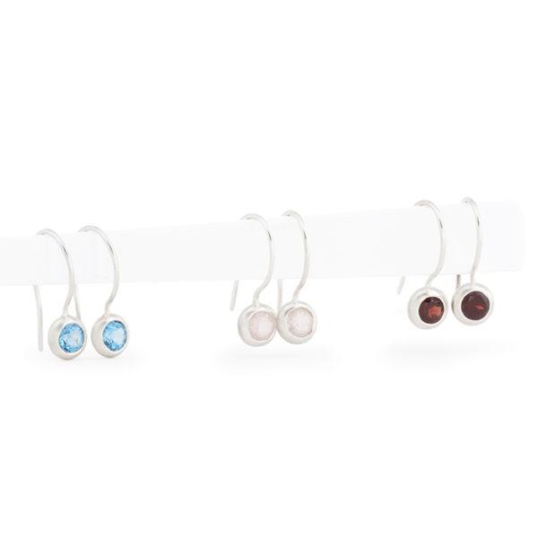 Boucles d'oreilles en argent satinées RJC, avec topaz, quartz rose et grenade (pierre ø 5 mm)