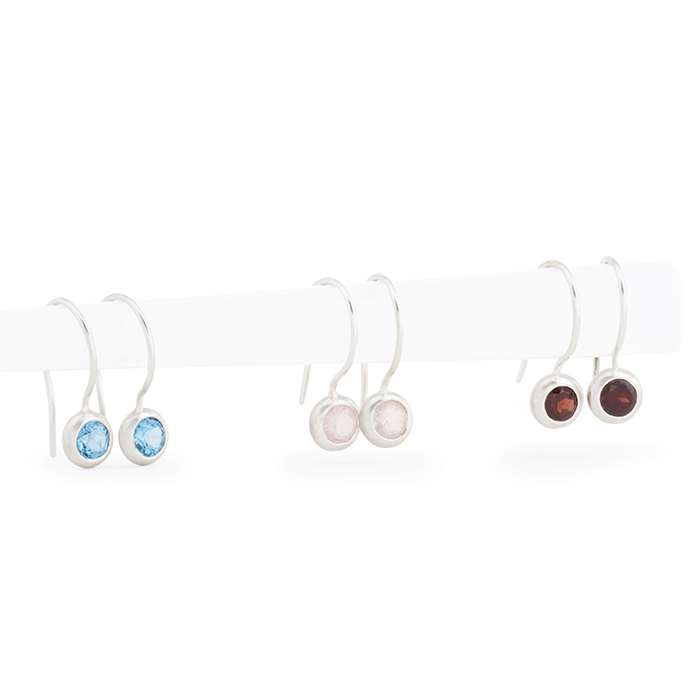 Earrings in sterling silver RJC matt, with topas, quartz rose and garnet (stone ø 5 mm)