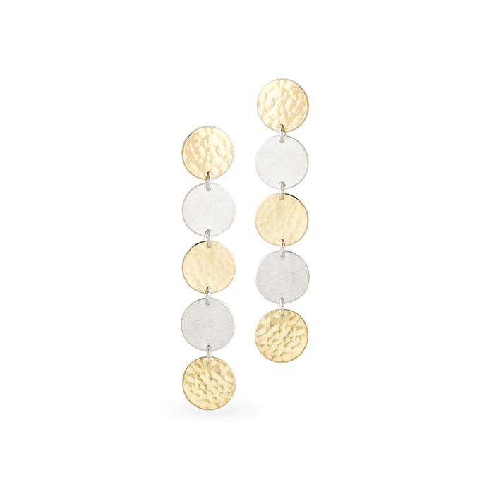 Boucles d'oreilles en argent et or 22 cts RJC, mat et poli/martelé