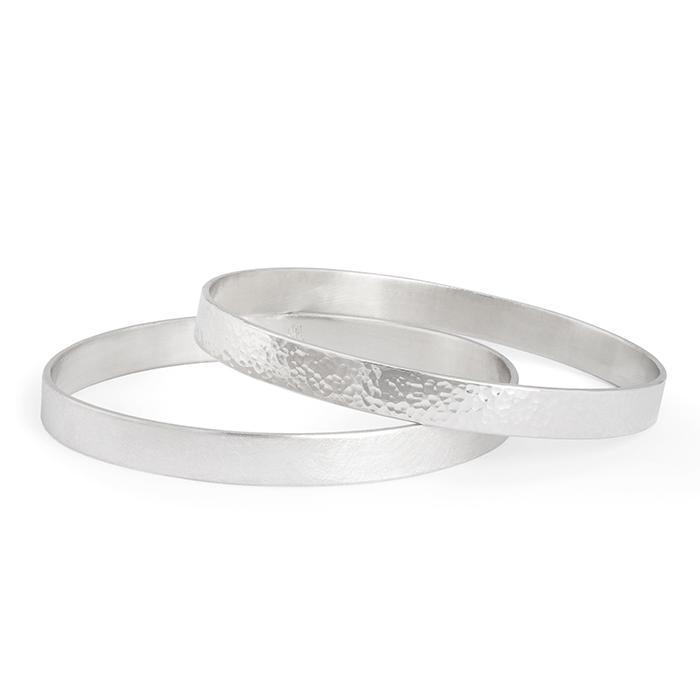 Armreif aus Silber RJC, ovale Form, matt oder poliert/gehämmert