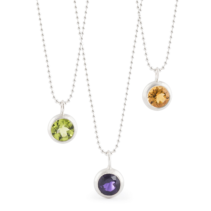 Necklace with pendant in sterling silver RJC polished, with peridot, amethyst and citrine (stone ø 8 mm)