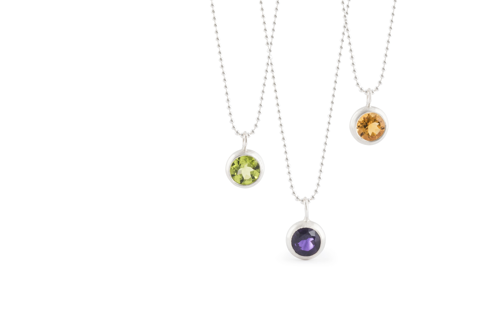 Necklace BUBBLES from the collection DELHI, in sterling silver polished, with peridot, amethyst and citrine