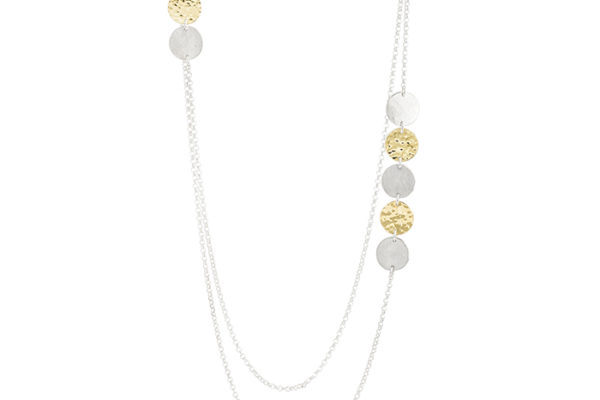 Necklace with two rows in sterling silver and 22 cts gold RJC, mat and hammered/polished